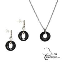 Parure bijoux en céramique noire, collier et boucles d'oreilles
