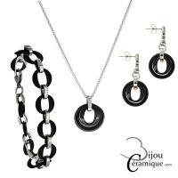 Parure bijoux en céramique noire, collier, bracelet et boucles d'oreilles