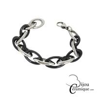 Bracelet maille céramique et acier inoxydable