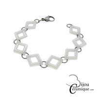 Bracelet céramique Femme mailles losange