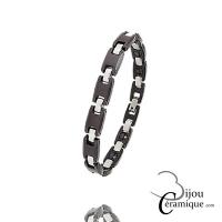 Bracelet fin Acier Céramique Marron Femme
