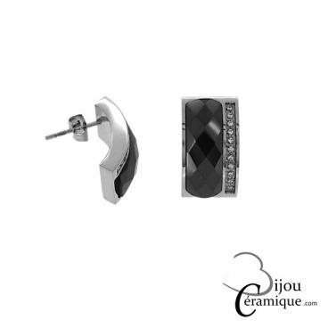 Boucles d'oreilles céramique noire facettée