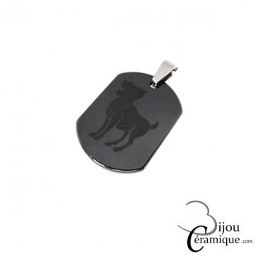 Pendentif signe du zodiaque céramique noire Bélier
