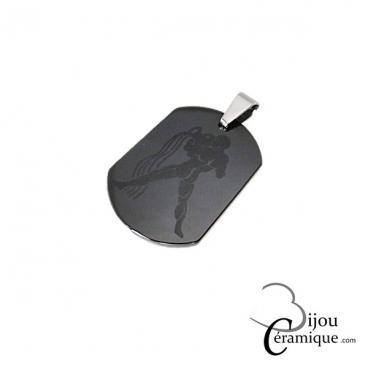 Pendentif signe du zodiaque céramique noire Verseau