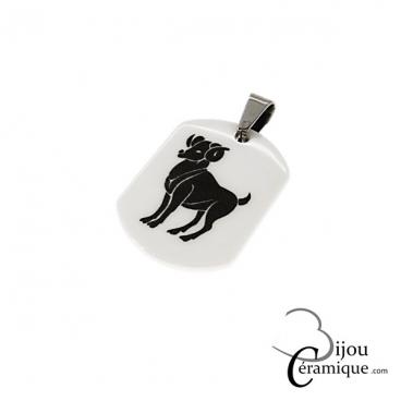 Pendentif signe du zodiaque céramique blanche Bélier