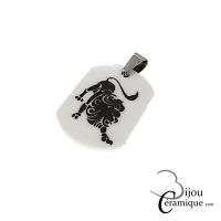 Pendentif signe du zodiaque céramique noire Lion
