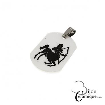 Pendentif signe du zodiaque céramique blanche Sagittaire