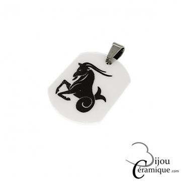 Pendentif signe du zodiaque céramique blanche Capricorne