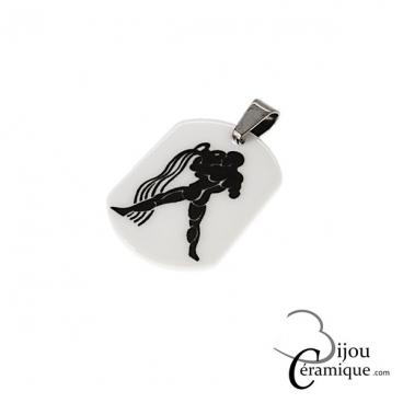 Pendentif signe du zodiaque céramique blanche Verseau