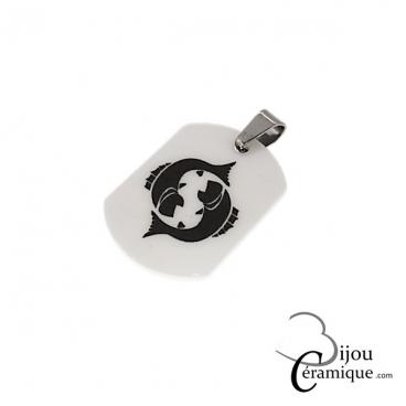 Pendentif signe du zodiaque céramique blanche Poissons