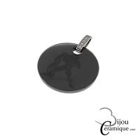 Pendentif signe astrologique Verseau céramique noire et strass