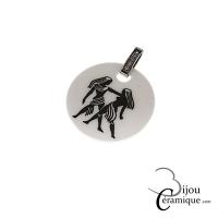 Pendentif signe astrologique Gémeaux céramique noire et strass