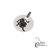 Pendentif signe astrologique Lion céramique blanche et strass