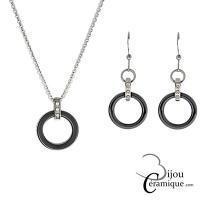 Parure bijoux en céramique noire collier et boucles d'oreilles ornés de strass