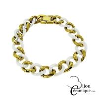 Bracelet maille gourmette en céramique blanche et acier doré