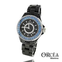 Montre céramique noire strass bleu Orcéa Paris