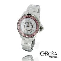 Montre céramique blanche strass rose Orcéa Paris