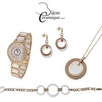 Parure montre et bijoux en céramique blanche et acier rosé