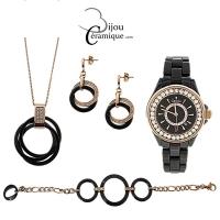 Parure montre et bijoux en céramique noire et acier rosé