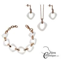 Parure bijoux collier, bracelet et boucles d'oreilles en céramique blanche