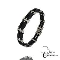 Bracelet Homme en céramique noire et acier