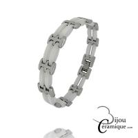 Bracelet Homme en céramique blanche et acier