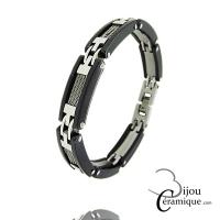 Bracelet câble acier et céramique noire Homme