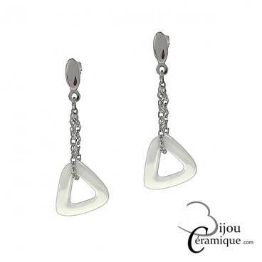 Boucles d'oreilles pendantes triangle céramique blanche