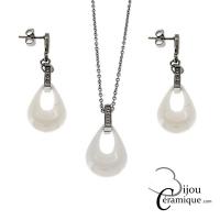 Parure collier et boucles d'oreilles goutte d'eau en céramique blanche