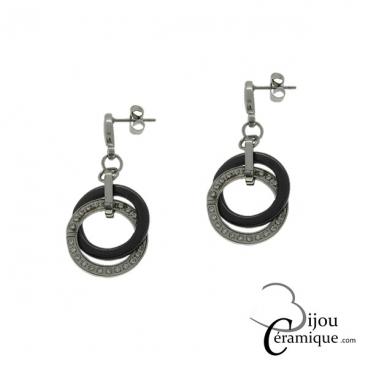 Boucles d'oreilles céramique noire anneaux entrelacés