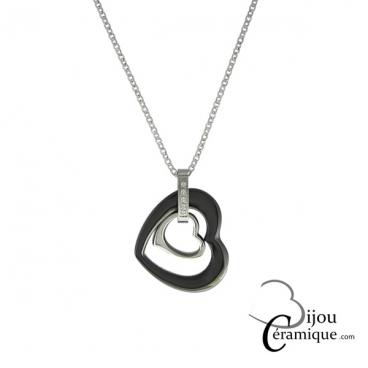 Collier acier pendentif cœur en céramique noire