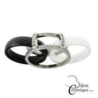 Bague acier et anneaux céramique facettés interchangeables