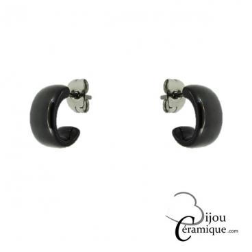 boucle d'oreille ceramique noire