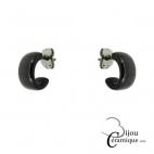 Boucles d'oreilles demi créoles céramique noire