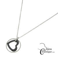 Collier cœur en céramique et acier