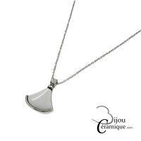 Collier acier et céramique blanc