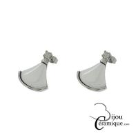 Boucles d'oreille acier et céramique blanche