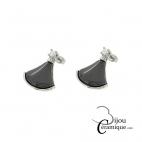 Boucles d'oreille acier et céramique noire