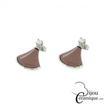 Boucles d'oreille acier et céramique marron
