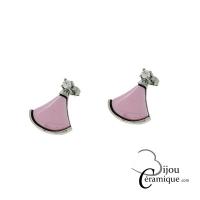 Boucles d'oreille acier et céramique rose