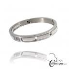 Bracelet Jonc acier céramique blanche