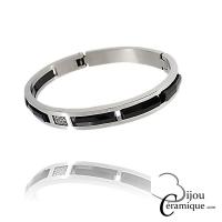 Bracelet Jonc acier céramique noire