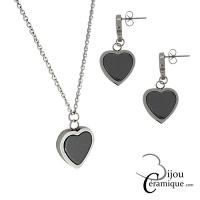 Parure bijoux cœur céramique noire, collier et boucles d'oreilles