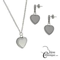 Parure bijoux cœur céramique blanche, collier et boucles d'oreilles
