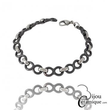 Bracelet céramique noire infini