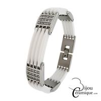 Bracelet bijoux en céramique blanche