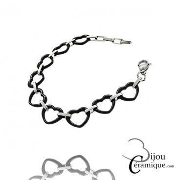 Bracelet cœur en céramique noire