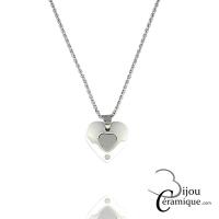 Collier cœur céramique blanche
