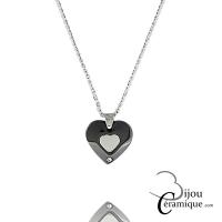 Collier cœur céramique noire