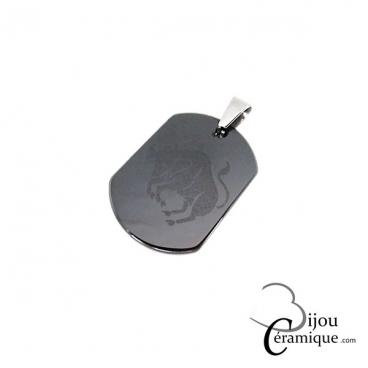 Pendentif signe du zodiaque céramique noire Taureau